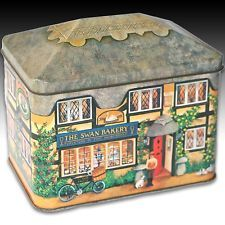 """House Shaped Tin """"The Swan Bakery"""" Local Cottage Silver Crane - 1992"""