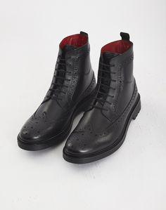 Base London Locke Brogue Boot Black | Shop men's shoes and clothing at The Idle Man Formal Shoes, Brogues, Black Boots, All Black Sneakers, Men's Shoes, Footwear, Base, Man Shop, London