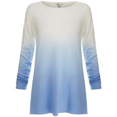 Joie Jobeth Blue Ombre Cashmere Sweater ❤ liked on Polyvore featuring tops, sweaters, wool cashmere sweater, joie, ombre top, joie tops and blue cashmere sweater