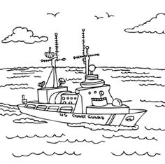 Free Printable Coloring Pages.  U.S. Coast Guard ship.  Check out more military coloring pages.