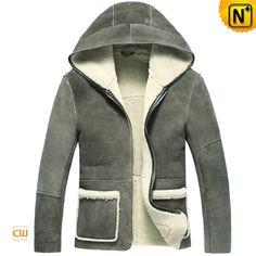 Mens Designer Hooded Leather Fur Shearling Jacket CW878263 $1395.89 - www.cwmalls.com