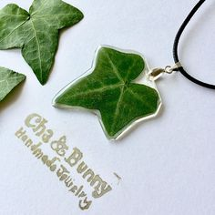 Real pressed ivy necklace - Handmade with real pressed ivy leaf and eco resin. Natural jewellery, eco resin jewellery :) These rings are showcasing real ivy. The ivy was pressed and dried and then embedded into the clear resin, that will preserve its beauty for a long time. Great