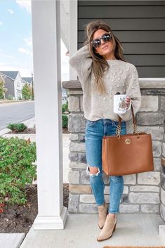 7 Sweaters to Add to Your Closet This Year - Chaylor & Mads - - The hottest sweaters that you need in your closet in 2019 including striped, teddy bear, burnt orange, chunky, leopard and more! Read to the end to see the hottest sweater this year! Fall Fashion Outfits, Casual Fall Outfits, Mom Outfits, Fall Winter Outfits, Look Fashion, Autumn Winter Fashion, Trendy Outfits, Cute Outfits, Fall Fashion Trends