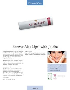 When you get those wind weathered lips, or the sun has gotten your lips chapped, then it's time to reach for a tube of our great Aloe Lips with Jojoba for some… Forever Aloe Lips, Dry Lips, Holistic Wellness, Forever Living Products, Extreme Weather, Aloe Vera Gel, Weather Conditions, Moisturizer, How To Apply