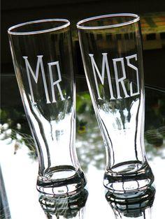 Hand Engraved MR & MRS Pilsner Glasses Set of 2 by glassgirljen, $32.00