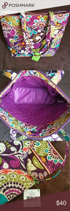 """Vera Bradley Plum Crazy Tote NWT New with tags Vera Bradley Plum Crazy tote. Beautiful unique statement piece, large enough to carry tons of stuff. Magnetic snap enclosure, 3 roomy interior pockets. Strap drop 10"""" Vera Bradley Bags Totes"""
