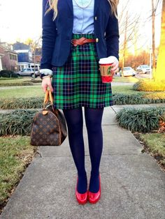 Blair Waldorf in plaid, colored tights, and bright red heels