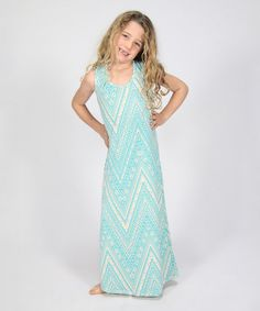 Loving this Aqua & White Chevron Maxi Dress - Girls on #zulily! #zulilyfinds