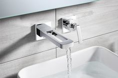Wall mounted basin mixer tap with lever handle, from the Zero 1 range . Kelly Hoppen for Crosswater
