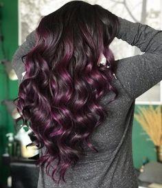 17 Stunning Examples of Balayage Dark Hair Color Deep Purple Hair, Black Hair With Highlights, Hair Color Purple, Hair Color Highlights, Hair Color For Black Hair, Hair Colors, Peekaboo Highlights, Burgundy Hair, Brown Hair