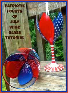 Fourth of July Floral painted wine glass tutorial