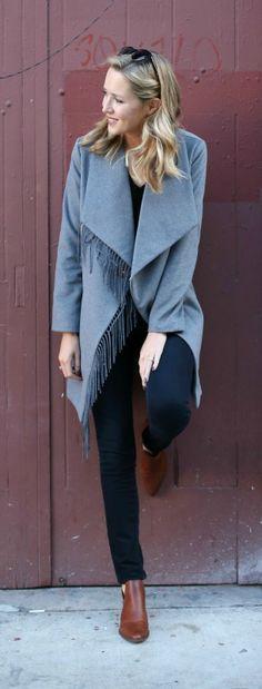 grey fringe coat, black skinny jeans, black v-neck sweater, brown ankle booties + sunglasses {ralph lauren, workwear, office style}