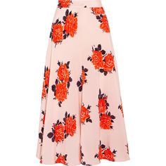 GANNI Harness floral-print silk crepe de chine midi skirt ($415) ❤ liked on Polyvore featuring skirts, ganni, harness skirt, pastel midi skirt, floral midi skirt, rose skirt and midi skirt