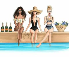 New print Holly Nichols Illustration Best Friend Drawings, Bff Drawings, Arte Fashion, Girl Fashion, Fashion Design, Trendy Fashion, Fashion Sketches, Art Sketches, Copic Art