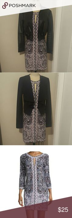 Bcbg Avila 3/4 Sleeve Dress Jersey  dress with a front keyhole. Can go from a business look to a rocker chic look. Runs one size bigger so it's like size XS. Lining: N/A BCBGMaxAzria Dresses Midi