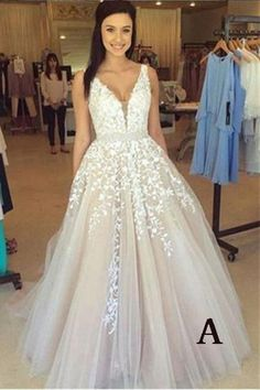 A-line V Neck Long Sexy Prom Dress,Lace Appliques Long Wedding Dresses N01
