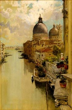 """Francis Hopkinson Smith (American 1838-1915) """"Over a Balcony"""" View of the Grand Canal , Venice c. 1893, watercolor on paper"""