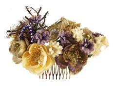 Tocado de flores de tela, abalorios con incrustaciones, bordados y elementos…