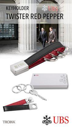 TROIKA TWISTER RED PEPPER - UBS engraving + individual packaging. Keyholder leather loop, with twist-lock *** Schlüsselhalter Lederschlaufe, mit Twist-Verschluss