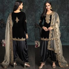 Black and Gold Embroidered Velvet Punjabi Suit Pakistani Dress Design, Pakistani Outfits, Indian Designer Outfits, Designer Dresses, Salwar Suits, Salwar Kameez, Punjabi Suits, Indian Gowns Dresses, Bridal Dresses