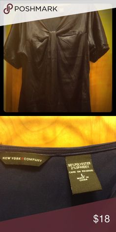 Navy satin shirt Satin shirt perfect for the office, Christmas party New York & Company Tops Blouses
