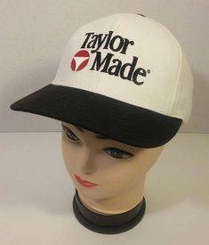 2cf6b4f78cb26 Vintage Taylor Made Golf Baseball Hat Cap Made in USA White Black  Adjustable  TaylorMade