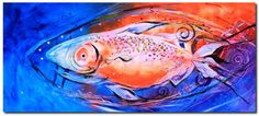 """Abstract Fire Belly"" (2017) Large, original, abstract fish painting on canvas. Approx. 28x62 inches. Ready-to-hang. This original and fine art prints/reproductions are now available: http://ipaintfish.com/abstract-fire-belly-2017-art/ #fishart #fish #art #painting #wallart #colorfulwallart #largeart"