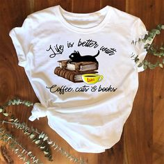 Black cat Life is better with coffee cats and books T Shirt 7 #fashion #clothing #shoes #accessories #men #mensclothing (ebay link)