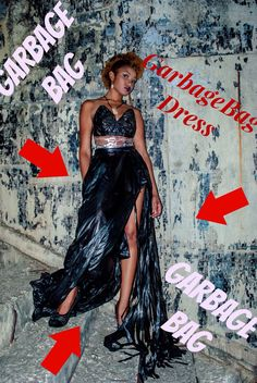 How To: make a dress from garbage bag Trash Bag Dress, Anything But Clothes Party, Cochella Outfits, Recycled Dress, Costume Tutorial, Paper Dresses, Prom Dresses, Recycled Fashion, Dress Tutorials