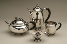 "Gallery 925 - Georg Jensen ""rose"" coffee and tea service no. 262, Handmade Sterling Silver"