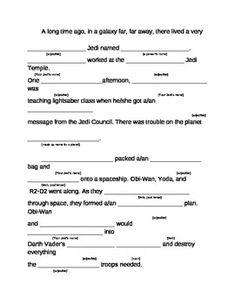 Star Wars Jedi Knight Mad Lib - Renee Dittman - TeachersPayTeachers.com Star Wars Party Games, Star Wars Trivia, Printable Star Wars, National Star Wars Day, Star Wars Classroom, Star Wars Prints, Mad Libs, Summer Reading Program, Writing Challenge