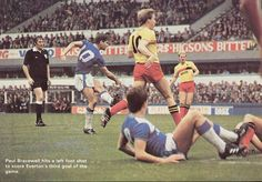 19 October 1985 Paul Bracewell fires in a left foot shot to score Everton's third against Watford