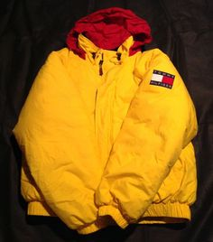 Vintage Yellow Tommy Hilfiger Puffy 90's Down Coat Jacket Tommy Flag XL  | eBay