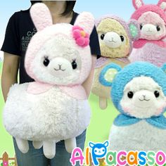 HUGE 40cm Alpaca Soft Toys - perfect for big HUGS!    Cute alpacassos are wearing animal hood! You can chose from 4 different colors. They will keep you warm and celebrate the holiday with you!