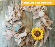 How to make a burlap rag wreath. So easy and done in less than an hour.