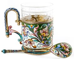 A russian silver and shaded cloisonne enamel tea-glass - Tea For Two - Tea Glasses Russian Folk Art, Teapots And Cups, Glass Holders, Art Nouveau, Antique Auctions, Porcelain Ceramics, Silver Enamel, Tea Set, Tea Cups