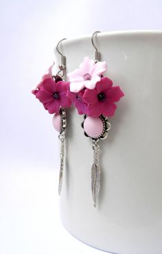 pink and magenta polymer clay flower earrings, polymer clay, #earrings #jewelry #handmade