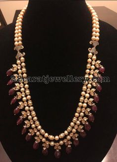 South Sea Pearls Ruby Drops Set - Jewellery Designs