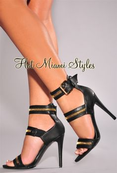 Black Faux Leather Zipper Accent High Heel Sandals