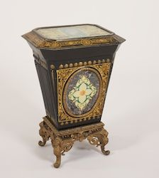 Victorian Coal Hod, with ornate gilt cast iron base with winged lions