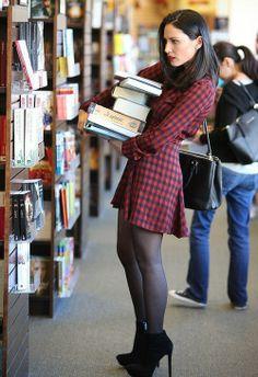 Olivia Munn sexy dress with sheer black pantyhose and boots Olivia Munn, Black Pantyhose, Nylons, Non Blondes, Cute Fashion, Womens Fashion, Ladies Fashion, Fashion Trends, Plaid Dress