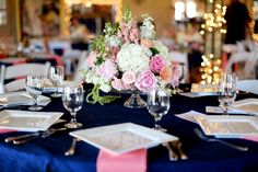 Pink, navy and white