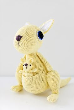 Crochet kangaroo - I'd do different eyes, but the joey (baby) is cute
