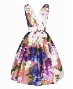 Multicolor Retro Vintage Style Floral Sleeveless Print Full Dress @ ChicNova $95