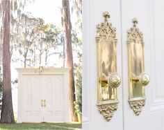 Huge 10 foot doors for wedding ceremony  | Amy and Mikes Lakeside wedding | www.AmalieOrrangePhotography.com