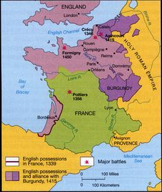 Map of the Hundred Years War (1338-1453)