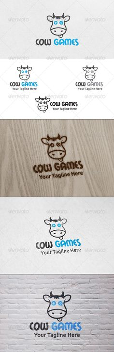 Cow Games  Logo Template — Vector EPS #kids #game farm • Available here → https://graphicriver.net/item/cow-games-logo-template/6459090?ref=pxcr