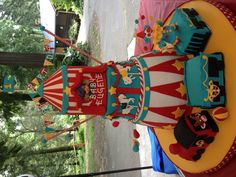 """""""Circus Train"""" cake I made for my nephew's 1st birthday. 1st layer: Chocolate Chantilly with Roasted Macadamia Nuts, 2nd layer: Guava with Strawberry Guava SMB and Guava Jel,3rd layer Butterscotch with Butterscotch SMB and Butterscotch Sauce."""