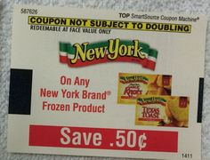 New York Frozen Product ~ 12/31/2014/ ~ $0.50 on ONE (1) ~ (10)