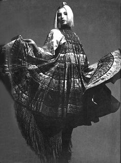 Model wearing a dress by Zandra Rhodes for Vogue UK, 1970. Photo by Clive Arrowsmith.